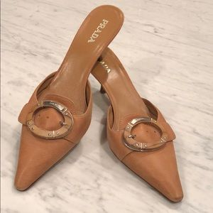 Prada Saddle Leather Kitten Heel Mules Great Cond.